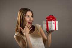 Happy girl being amazed Royalty Free Stock Images