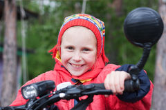 Happy girl. On the a bicycle stock images