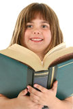 Happy Girl With Big Book Royalty Free Stock Photos