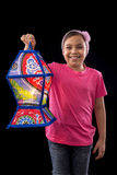 Happy Girl with Big Ramadan Lantern Royalty Free Stock Photo