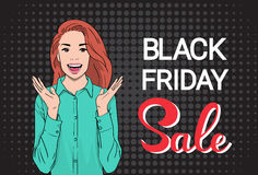 Happy Girl Big Sale Black Friday Shopping Banner Stock Photos