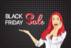 Happy Girl Big Sale Black Friday Shopping Banner Stock Image