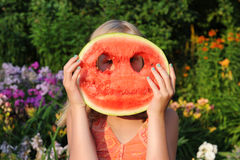 Happy girl with a big watermelon Stock Photography