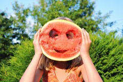 Happy girl with a big watermelon Royalty Free Stock Photo