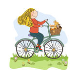 Happy girl on bike Royalty Free Stock Photography