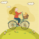 Happy girl on bike Royalty Free Stock Images