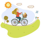 Happy girl on bike Stock Photos