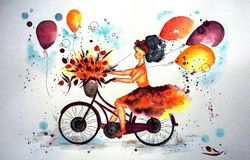 Happy girl on a bike, watercolor technique royalty free illustration