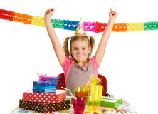 Happy girl on birthday party Royalty Free Stock Photos
