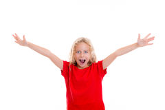 Happy girl with blond hair. And red shirt Royalty Free Stock Photo
