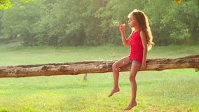 Happy girl blowing soap bubbles in the park. Slow motion. Happy girl in denim shorts and pink shirt blowing soap bubbles while sitting on a log in the park. Slow stock video footage