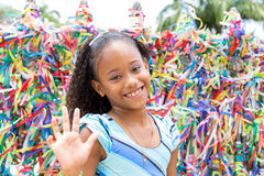 Happy girl at the Bonfim Church in Salvador, Bahia in Brazil Stock Image