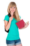 Happy girl with a book in hand Royalty Free Stock Photo