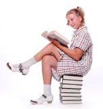 Happy girl with books. Stock Photography