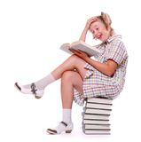 Happy girl with books. Stock Photos