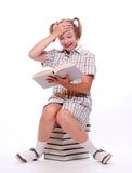 Happy girl with books. Stock Image
