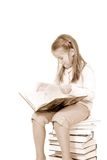 Happy girl with books. Girl with book. Isolation on the white Royalty Free Stock Photography