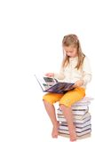 Happy girl with books. Girl with book. Isolation on the white Royalty Free Stock Photos