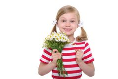 Happy girl with a bouquet of daisies Stock Photo
