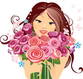 Happy girl with a bouquet of roses. Vector illustration of portrait a happy girl with a bouquet of roses Royalty Free Stock Photos