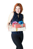 Happy girl with boxes gift Stock Photo