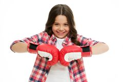 Happy girl in boxing gloves isolated on white. Little child smile in boxing pose. Kid boxer ready to fight. Sport. Workout and training. Fit to win royalty free stock photo