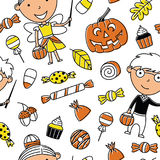 Happy girl and boy in Halloween costumes with sweets seamless pa royalty free illustration