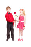 Happy girl and boy isolated on white Royalty Free Stock Images