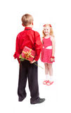 Happy girl and boy isolated on white Stock Images