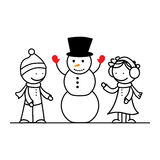Happy girl, boy and snowman Royalty Free Stock Image