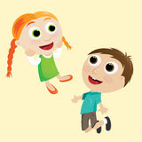 Happy girl and boy Royalty Free Stock Images