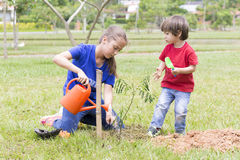 Happy Girl and Boy Watering Plants Outdoors Stock Images
