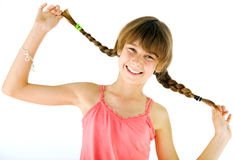 Happy girl braids Royalty Free Stock Photography