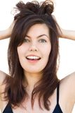 Happy Girl with brown hair Stock Photography