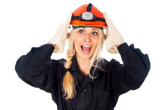 Happy girl builder thinking Stock Photo