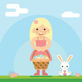 Happy girl bunny basket easter egg icon sky background template flat design vector illustration Stock Image