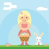 Happy girl bunny basket easter egg icon sky background template flat design vector illustration Stock Image