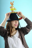 Happy girl with bunny on hat Royalty Free Stock Images