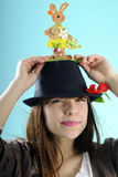Happy girl with bunny on hat Royalty Free Stock Photography