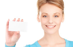 Happy girl with business card Stock Photos