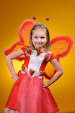 Happy girl with butterfly wings Royalty Free Stock Photo