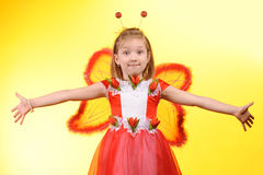 Happy girl with butterfly wings Royalty Free Stock Image