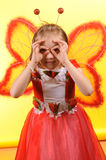 Happy girl with butterfly wings Stock Images