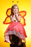 Happy girl with butterfly wings Royalty Free Stock Images