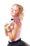 Happy girl with candy Royalty Free Stock Photo