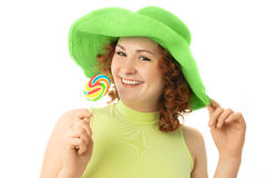 Happy girl with a candy Royalty Free Stock Photography