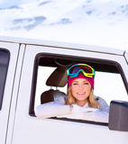 Happy girl in the car Stock Photos