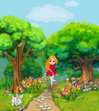 Happy girl carries a basket with Easter eggs through a forest. With tulips. Illustration for children stock illustration