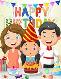 Happy girl cartoon blowing birthday candles with his family Royalty Free Stock Photo