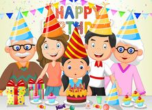 Happy girl cartoon blowing birthday candles with his family Stock Photo